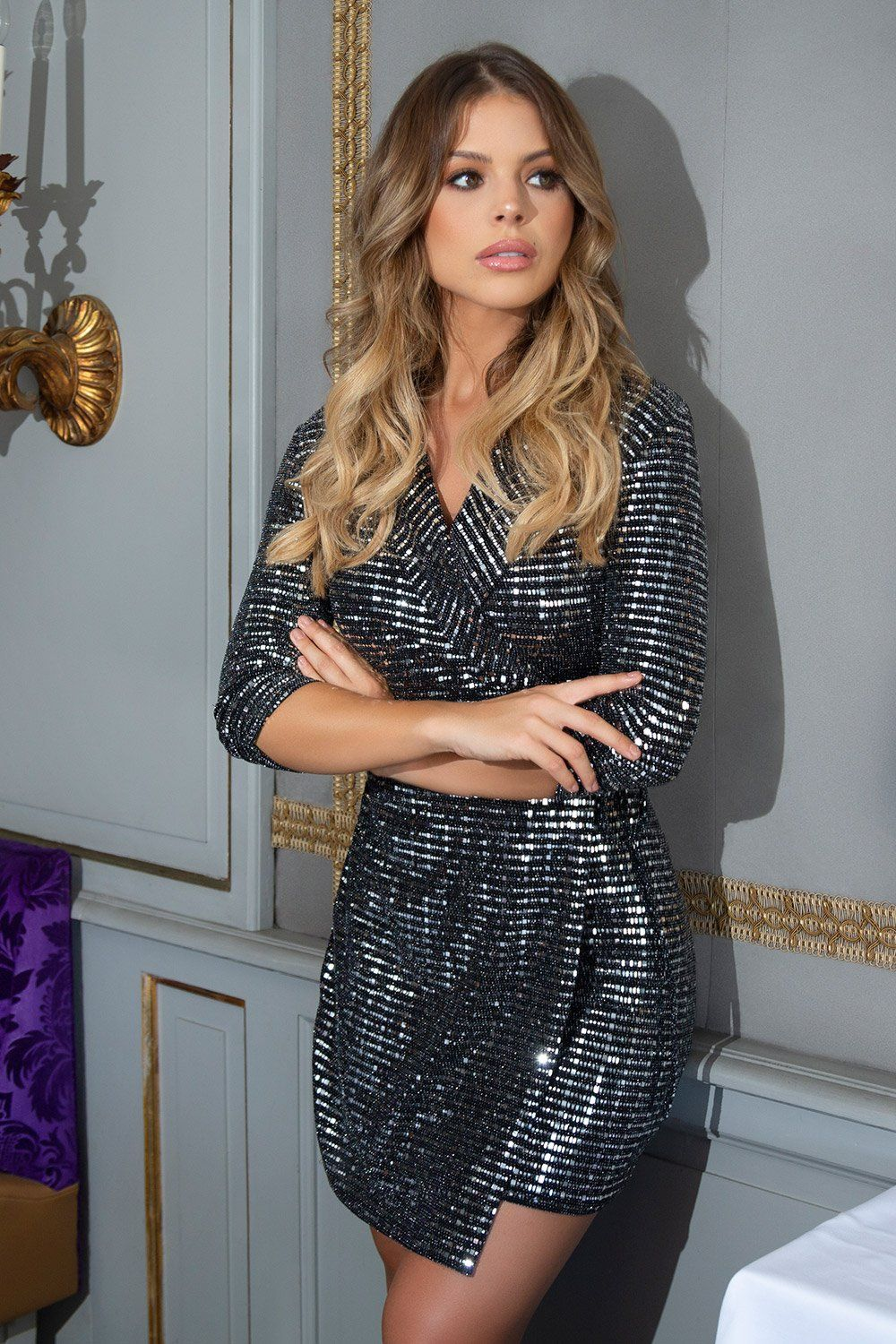 f8a55341a5b4 Black and Silver Sequin Wrap Dress in 2019 | Dresses | Dresses ...