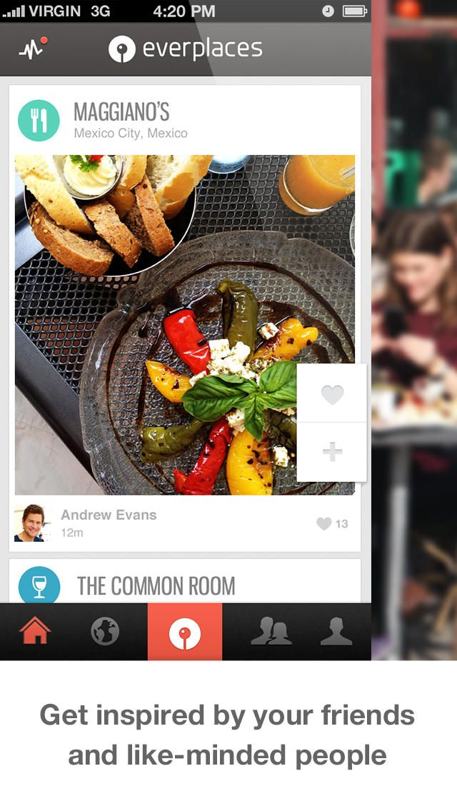 Everplaces:  Never forget a great restaurant, hotel or special place again. Save places easily to your phone when you spot them * Personal - organize your own way * Share with friends, be updated * Follow locals for insider tips for travel Everplaces is a personal memory tool for locations.