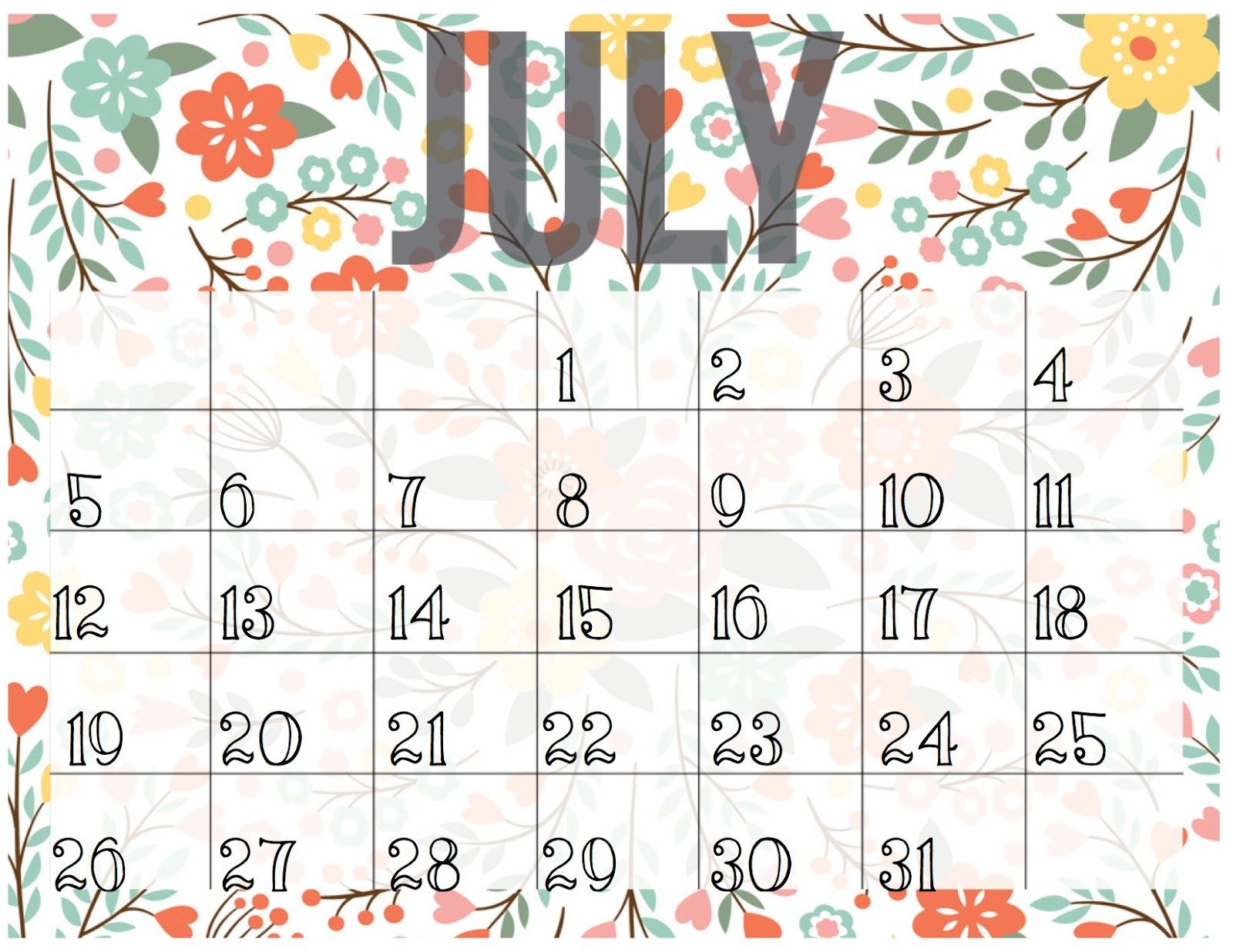 cute july 2016 calendar printable monthly calendar | calendar