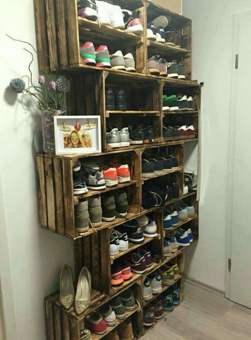 crate shoe storage solution organization pinterest