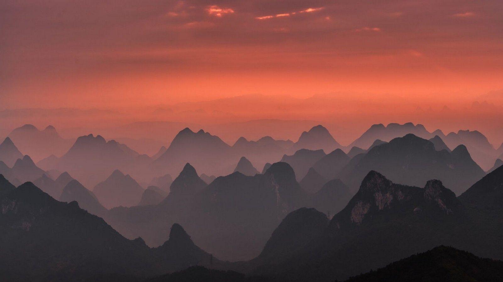 Mountain Sunrise Scenery Landscape Nature Wallpapers Nature Landscape Sunrise Mountains Landscape Guilin Landscape Photography