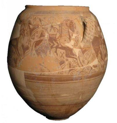 Vaso de los guerreros Cerámica.La Serreta (Cocentaina-Penáguila-Alcoy).Siglo III a.C.Museo Arqueológico Municipal Camilo Visedo Moltó de Alcoy.