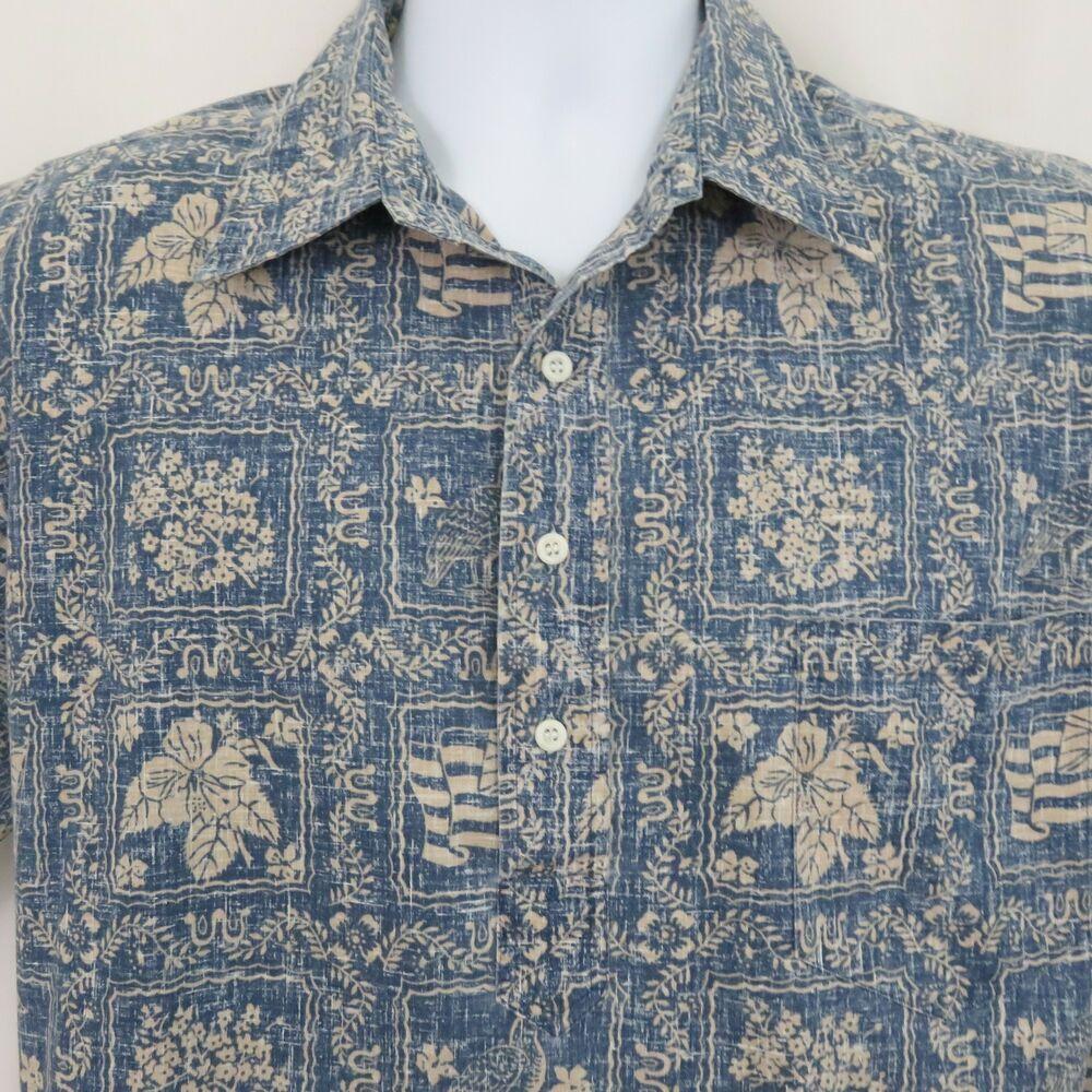 2787c5688 Reyn Spooner XL Pullover Blue Lahaina Sailor Flag Hawaiian Aloha Shirt  Vintage #ReynSpooner #Hawaiian