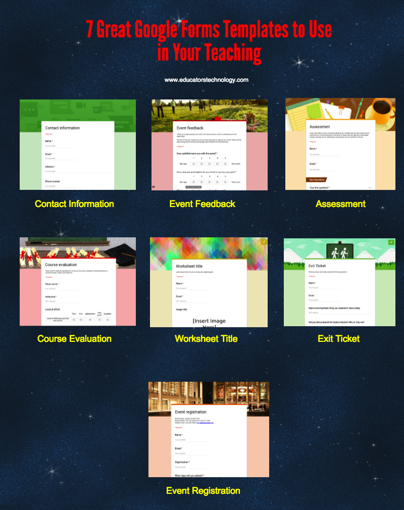 Great Google Forms Templates To Use In Your Teaching - Free google forms templates