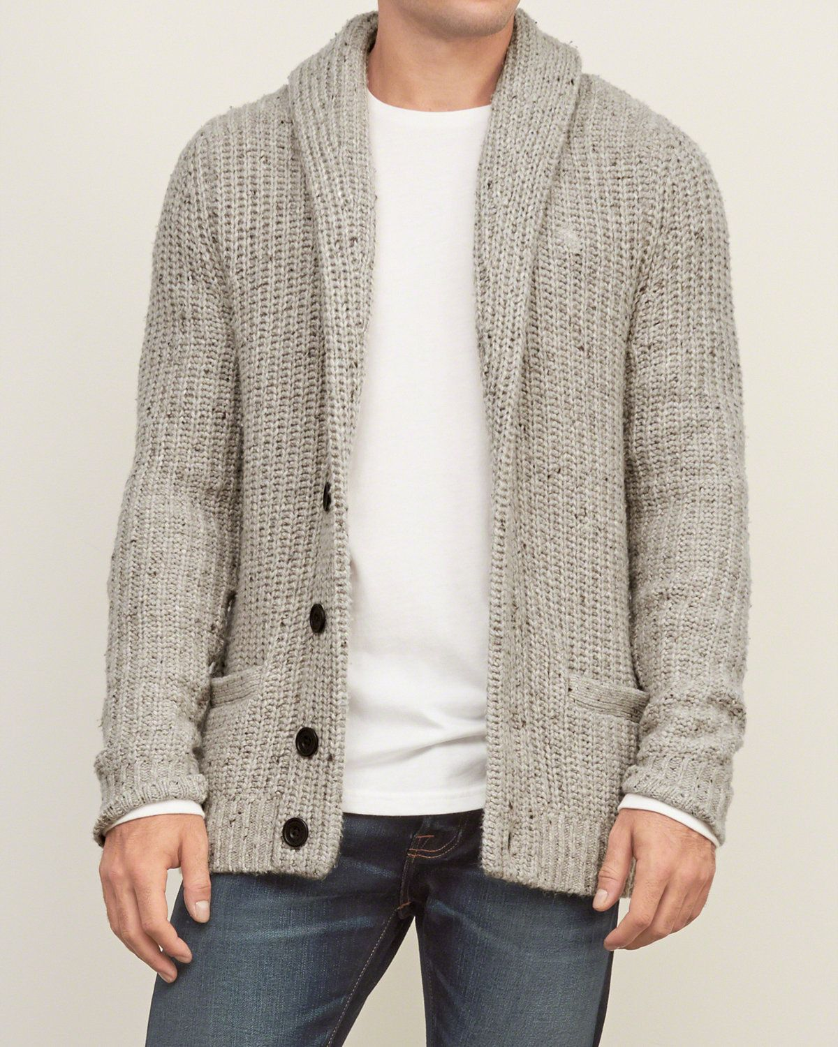 Shawl cardigan with elbow patch. | The year of the gentlemen ...
