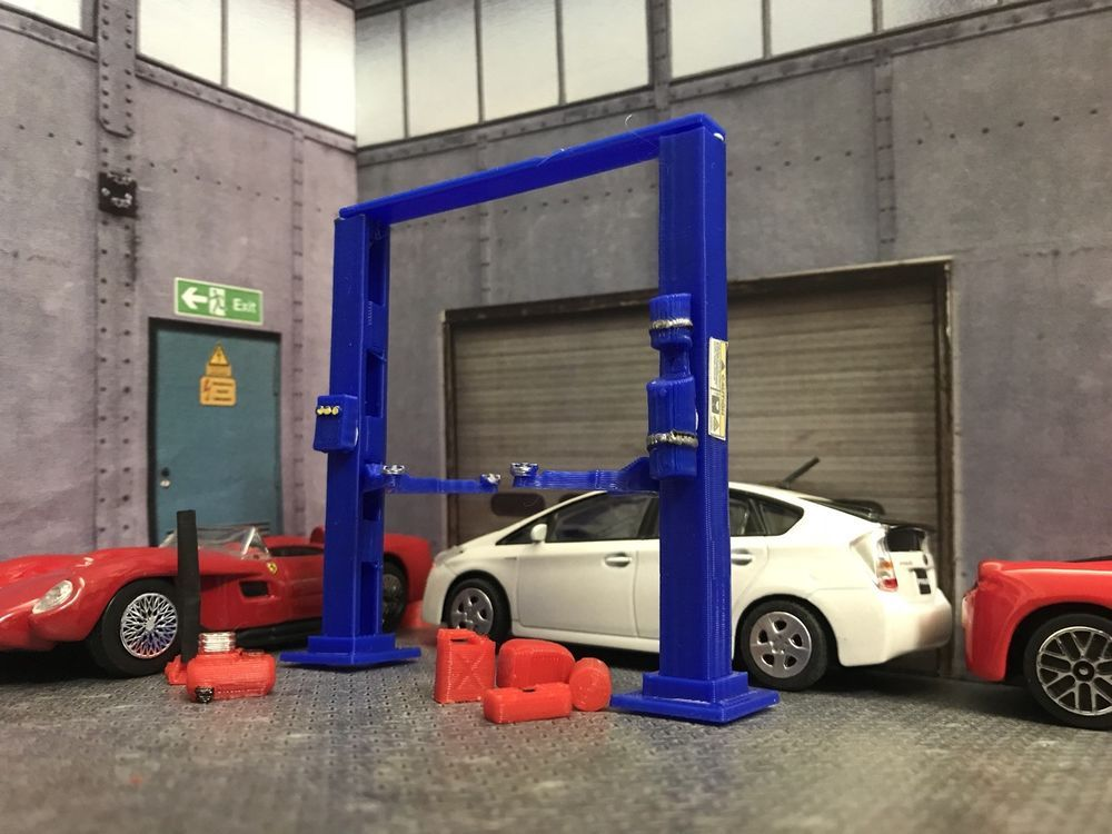 1 43 Scale 2 Post Hydraulic Car Lift Diorama Garage Scale Accessory For Diecast Hydraulic Car Lift Hydraulic Cars Car Lifts