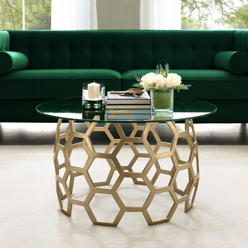 Free Shipping Buy Janina Round Gold Coffee Table Clear Glass Top Geometric Hexagon Metal Fr Gold Coffee Table Round Glass Coffee Table Silver Coffee Table [ 1000 x 1000 Pixel ]