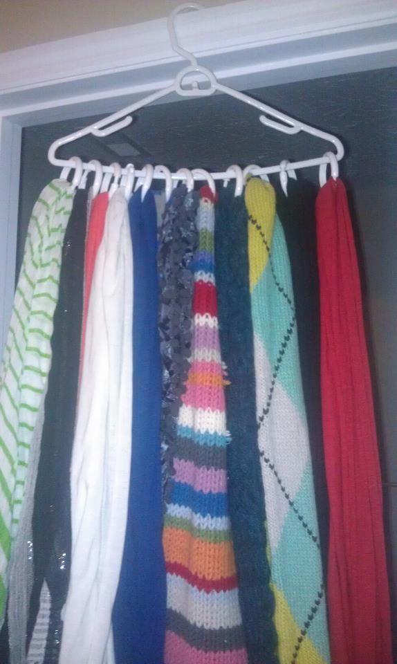 Scarf Organizer    1 hanger, 1 set of shower curtain hooks