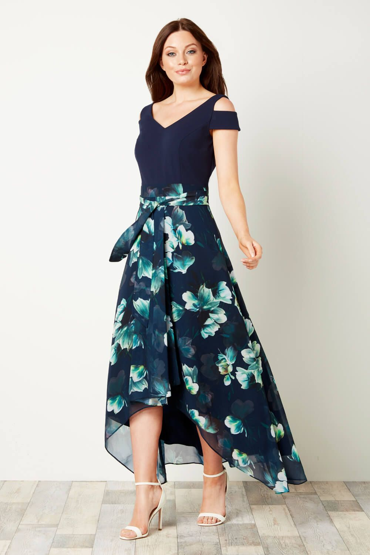 Roman Originals Women Floral Print Cold Shoulder Maxi Dress