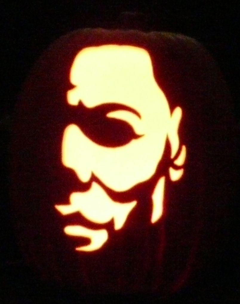 Here is Michael Myers I carved on a foam pumpkin. Pattern by ...