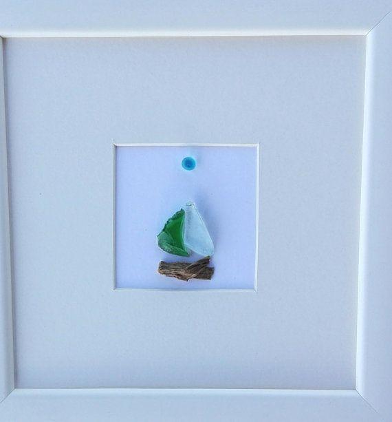 Pebble art boat, boat picture, nautical decor, sea glass boat, home ...