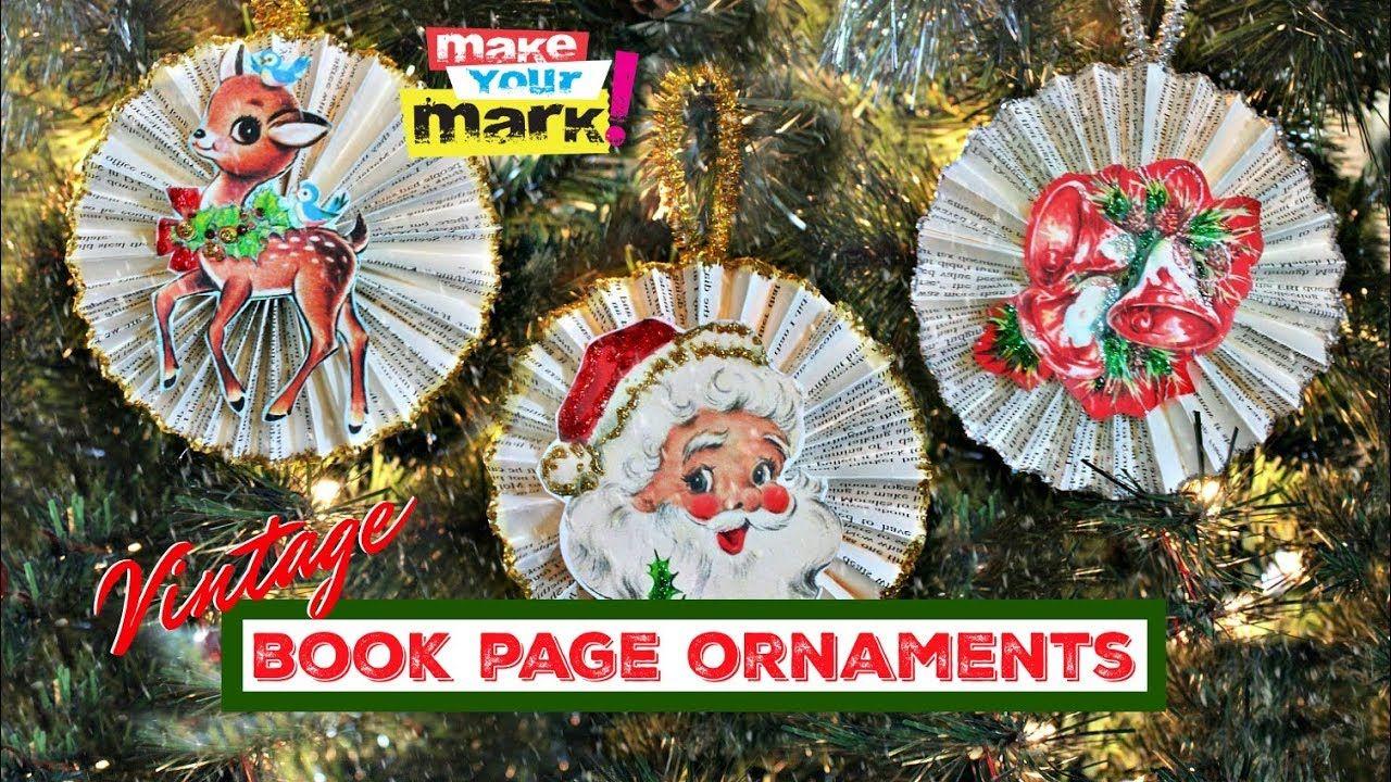 Vintage Book Page Ornaments Youtube Diy Christmas Tree Ornaments Book Christmas Tree Dollar Store Christmas Diy