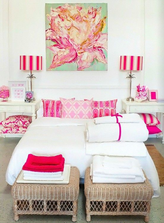 white and hot pink bedroom. I love the red and white towels ...