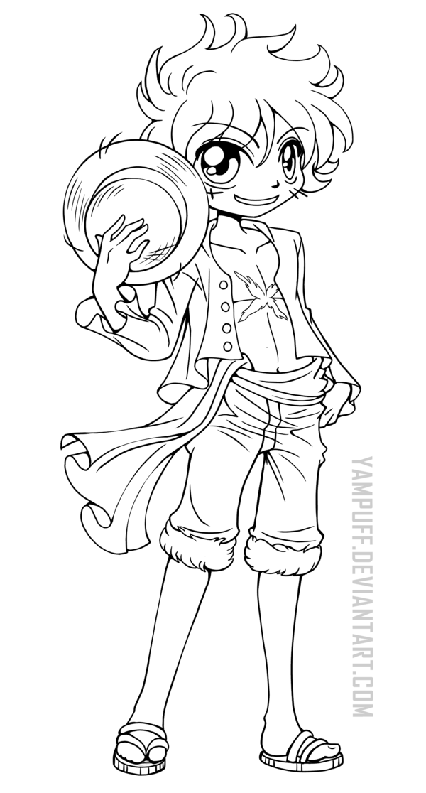 Yam Puff Kleurplaat Luffy One Piece Lineart By Yampuff On Deviantart