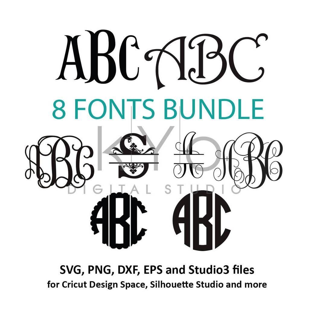Download Cricut Monogram Fonts bundle svg png dxf eps files ...