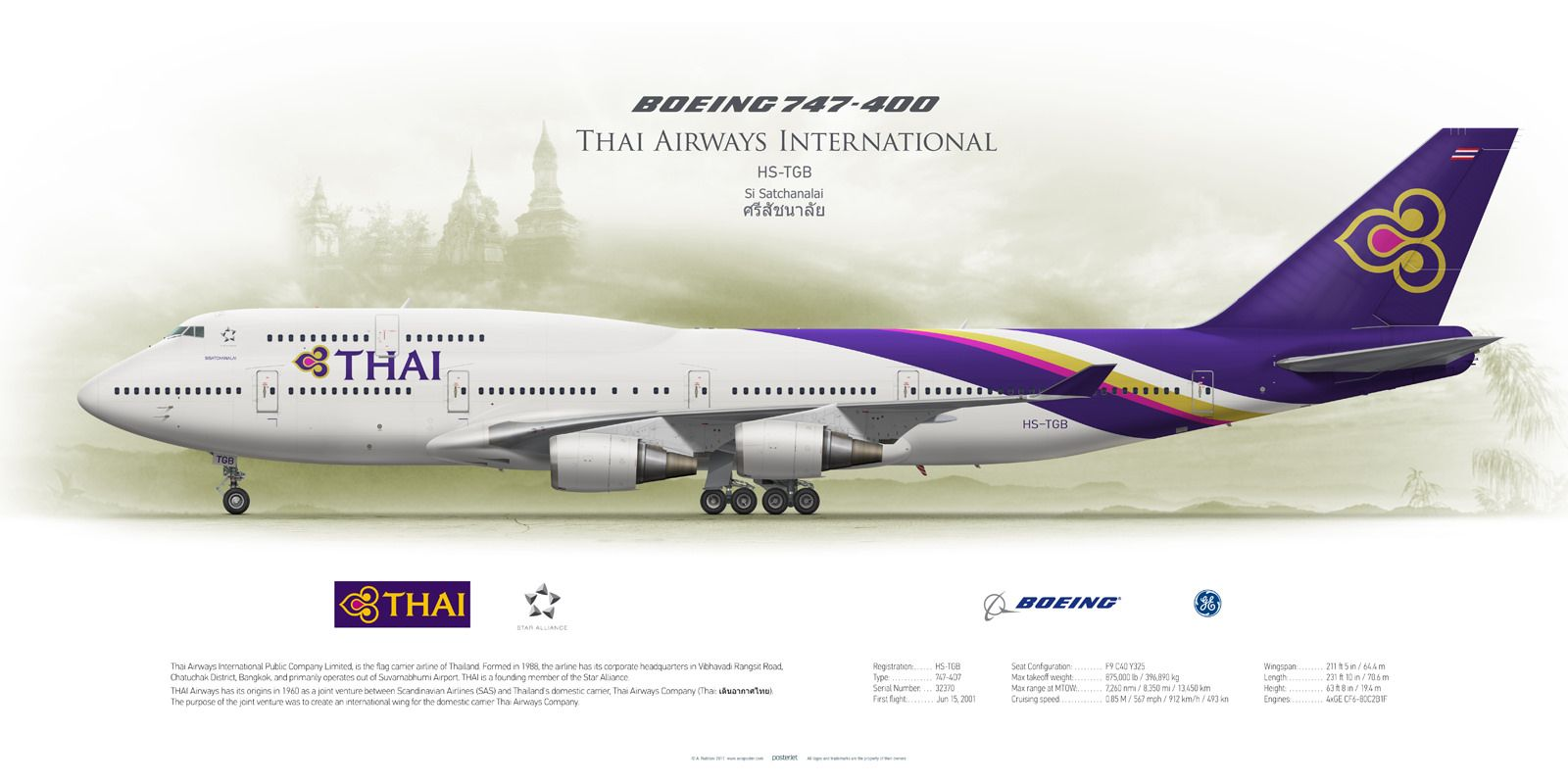 Boeing 747 400 thai airways international hs tgb thai for Plan de cabine boeing 747 400 corsair