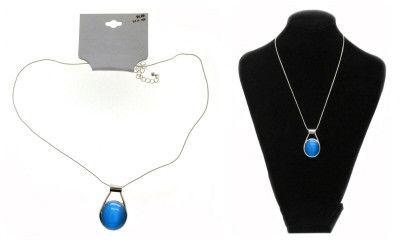 Silver Tone Necklace With Blue Stone Pendant