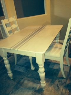 grain sack farm table and 2 chairs hand painted and scotch guarded