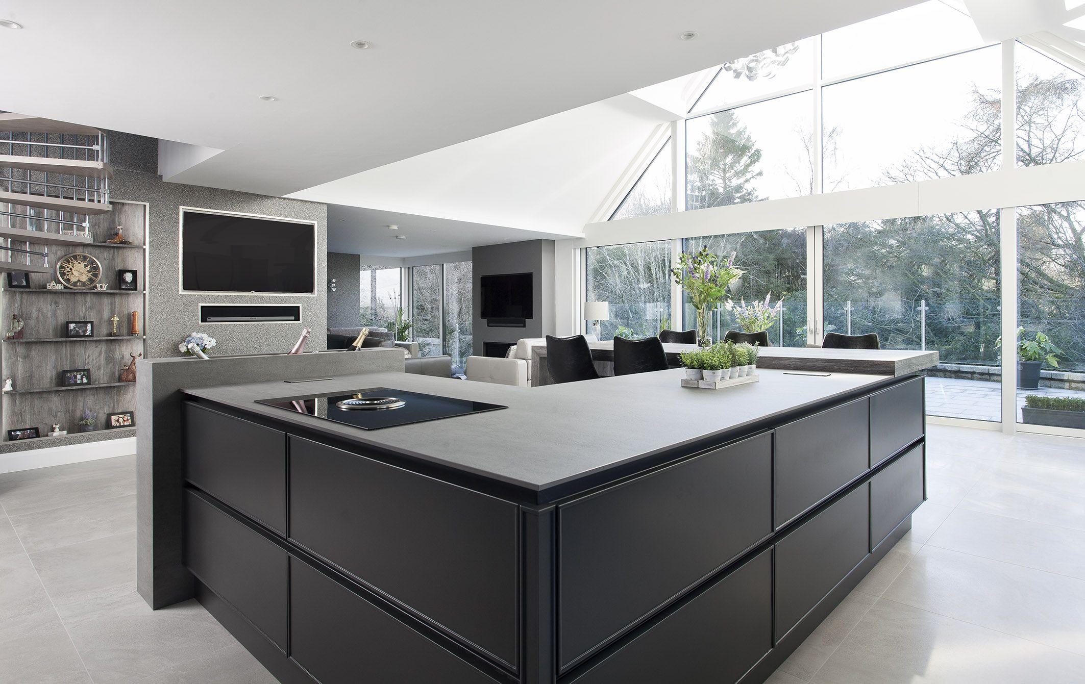 Dark grey & concrete ceramic kitchen, co Down, Northern