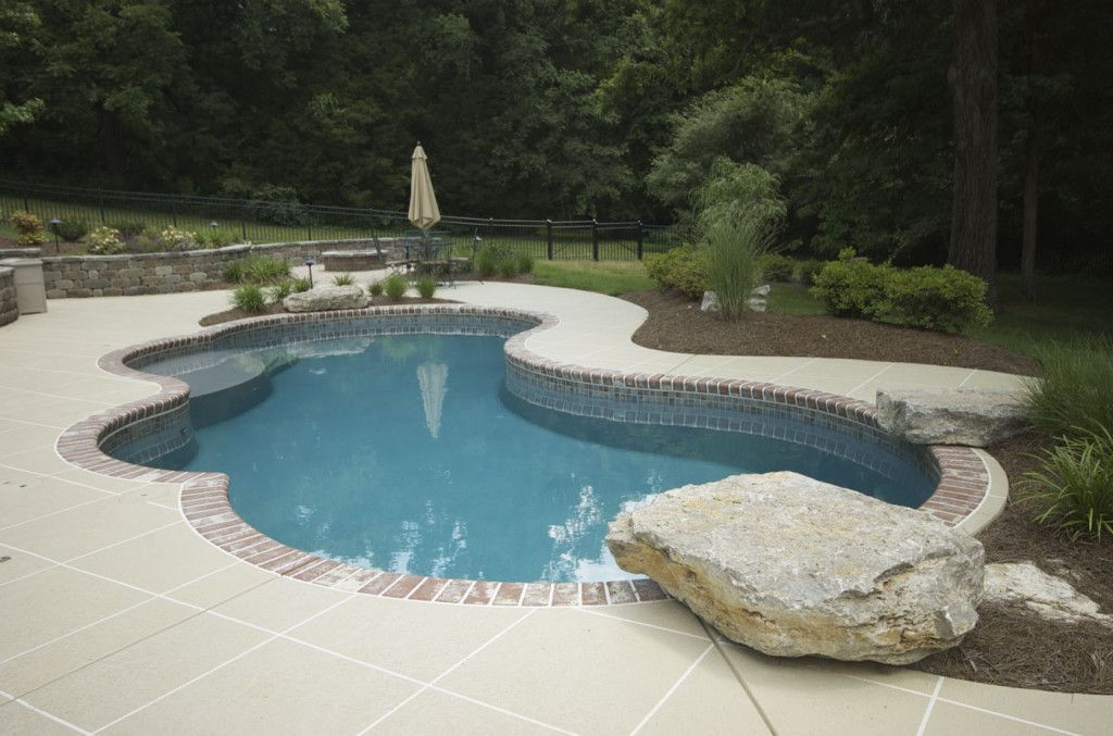 Concrete Freeform Pool With Brick Coping Pools