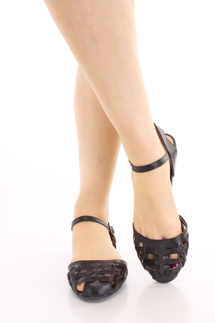 Black enclosed sandals - Black Caged Closed Toe Sandals Faux Leather