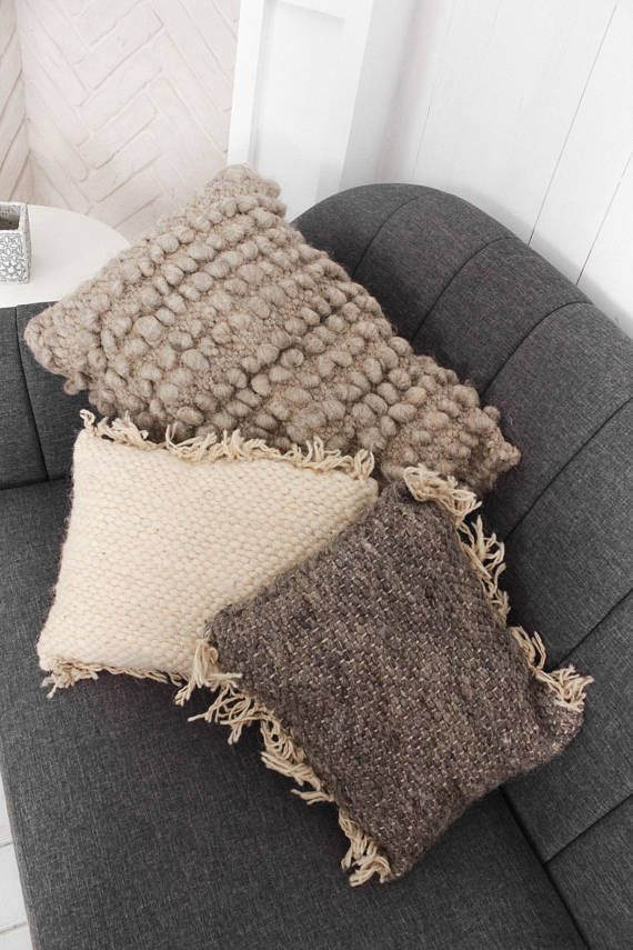 Natural white wool couch pillow accent pillows hand woven decorative pillow for couch white - Cuscini decorativi letto ...