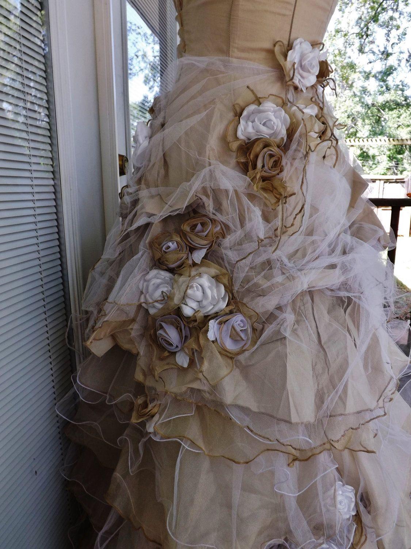 Handmade wedding dress  Handmade Wedding Dress Mini Plus Tail Beige Roses Size  US  UK