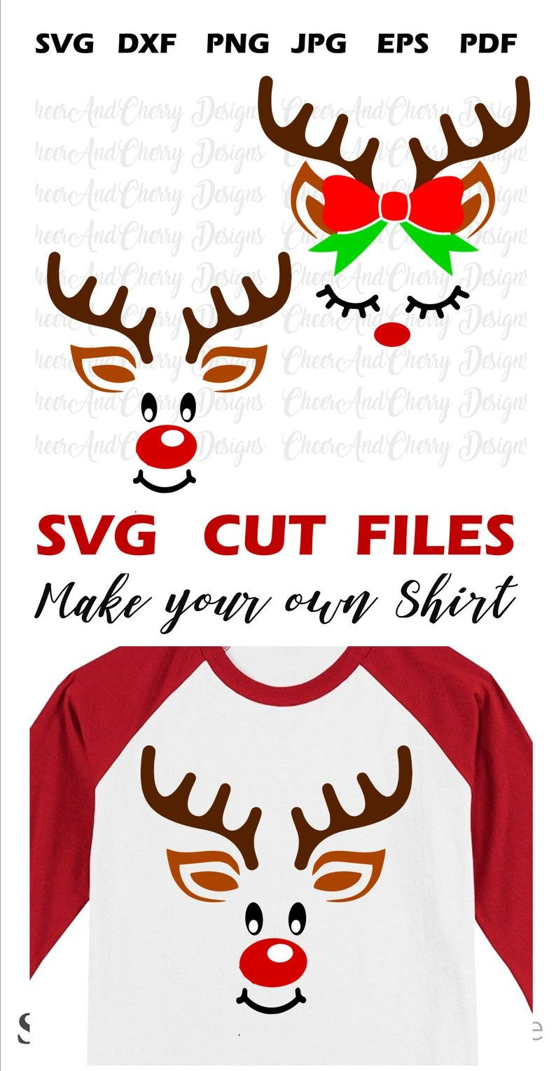 Reindeer face Svg for boy and girl, Christmas SVG for
