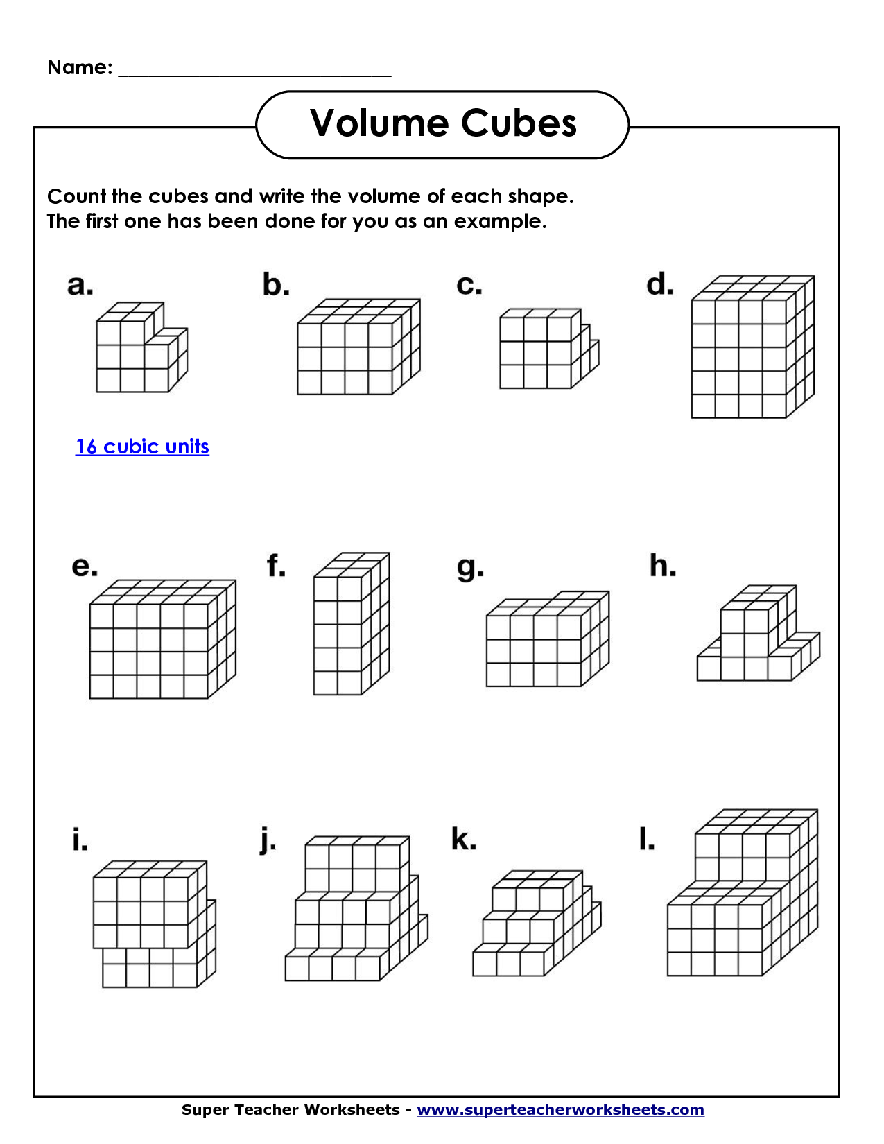 Volume Geometry With Cubic Units Math Worksheets