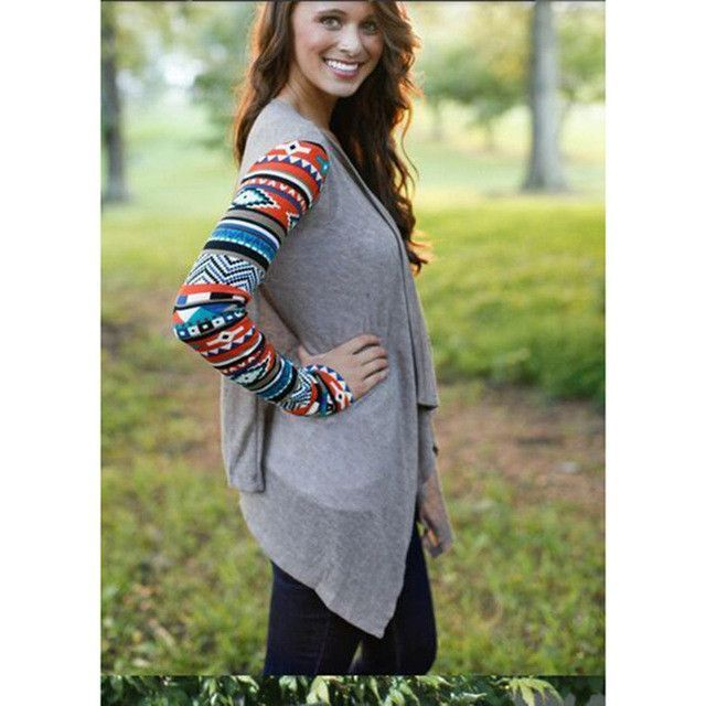 Buy Fall Women Warm Cardigan Totem Long Sleeve Print Asymmetrical ...