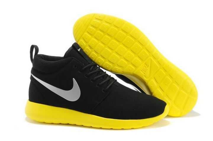 half off 13e50 e94bc Best Selling Nike Roshe Run Mid Womens Black Metallic Silver Yellow UK Shoes