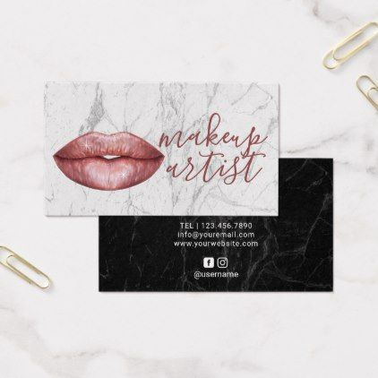 Rose gold lips makeup artist modern marble business card makeup rose gold lips makeup artist modern marble business card makeup artist gifts style stylish unique reheart Image collections