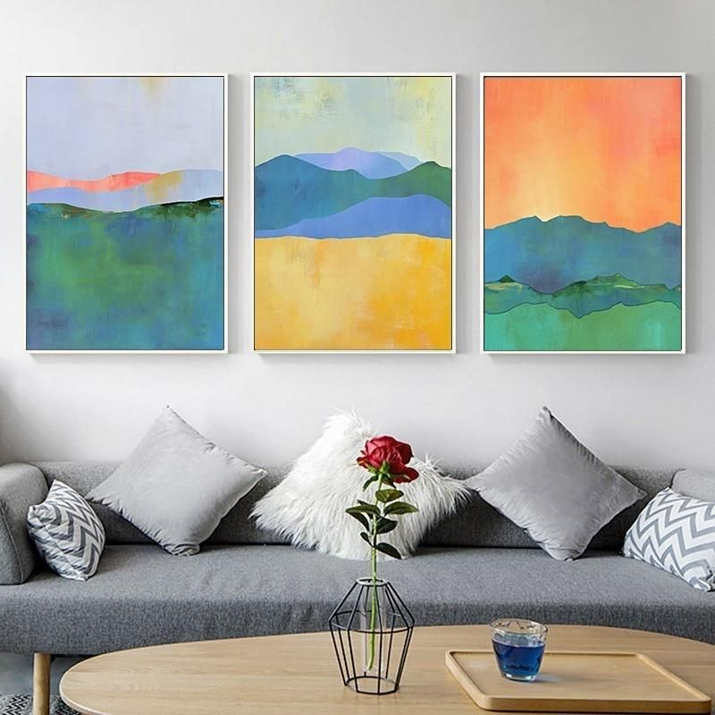 Abstract Watercolor Landscape Paintings Colorful Nordic Wall Art