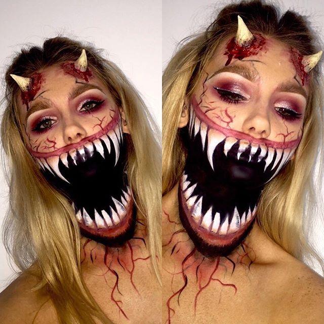 Ghoul glam @halloweenmakeup #fun #illusionmakeup #horns #ghouls ...