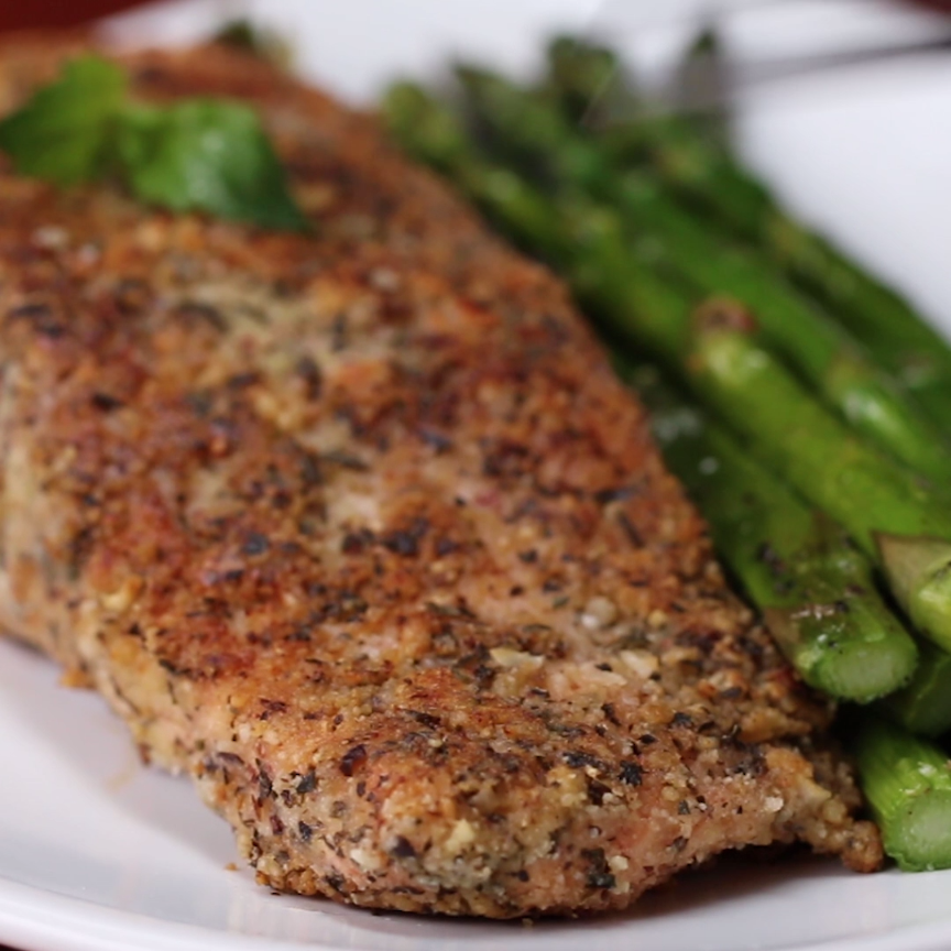 Photo of This Almond-Crusted Parmesan Salmon Is The Perfect Dinner For Two