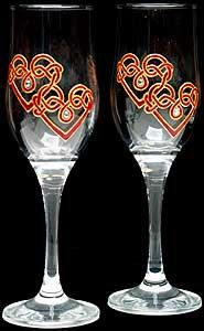 Pair of Champagne Flutes in Double Love Knot Design
