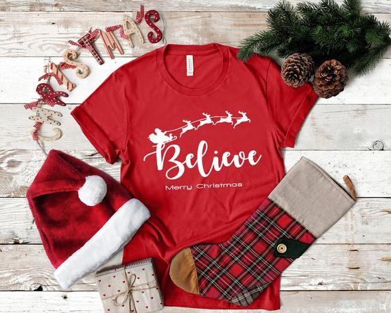 Believe Shirt - Believe and Santa's shirt- Cute Women's Holiday Shirt - Christmas T-Shirt - Religious Christmas Shirt -Jesus Shirt, Believer