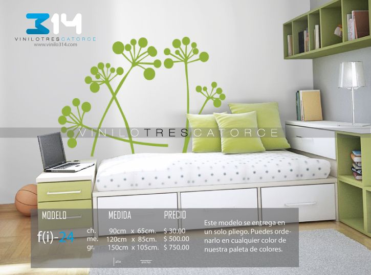 Vinilo 3 14 vinilos decorativos florales flores for Calcomanias para dormitorios