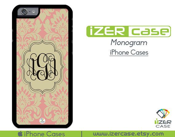 Monogram Personalized iPhone 6/6S Case, iPhone 6/6S PLUS, iPhone 5/5S,  iPhone 5C, iPhone 4/4S Beige Damask
