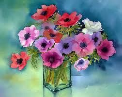 Watercolor poppy vase