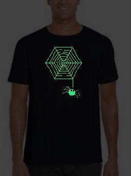 halloween glow in the dark t shirt spider web adult youth sizes by