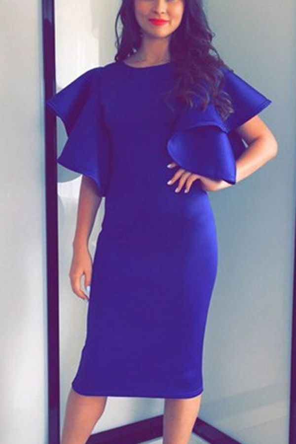 Blue Ruffle Sleeve Midi Bodycon Party Dress | Pinterest