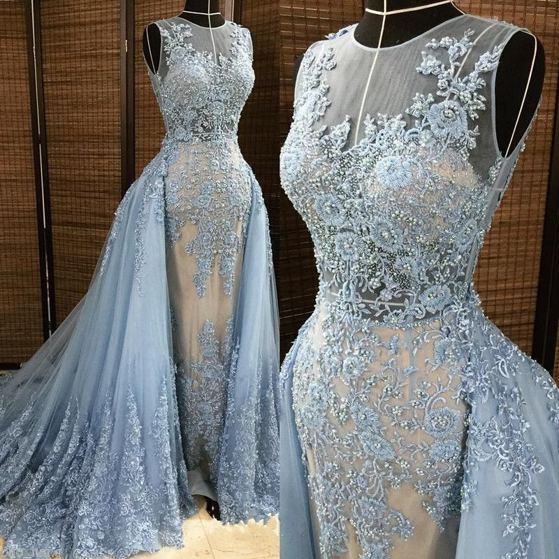 ... Prom Evening Gowns Dresses For Weddings 2017. 2018 Mermaid Nude Lace  Applique Wedding Dresses Detachable Train Bridal Gowns  BallGown f14230558