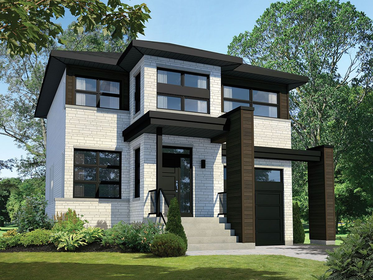 With its wonderful open layout this two story contemporary house plan feels larger than it is the main living area is l shaped with the