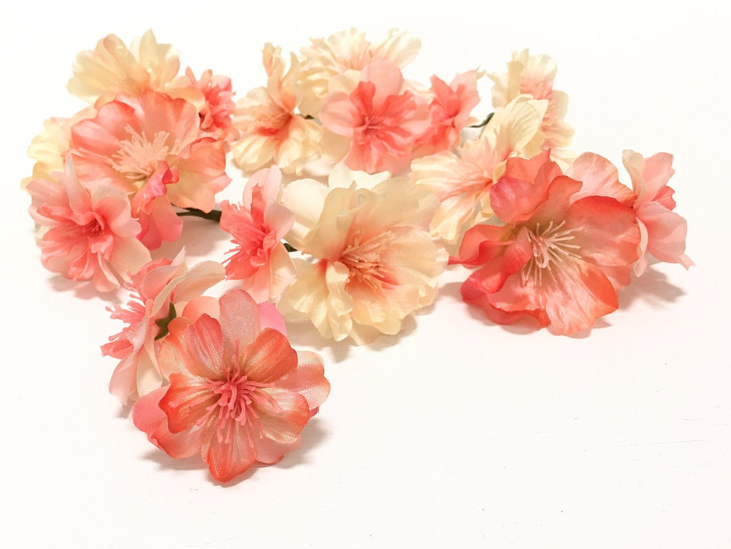 17 flower blossoms in coral peach artificial flowers peach 17 flower blossoms in coral peach artificial flowers peach blossoms silk flowers mightylinksfo Gallery