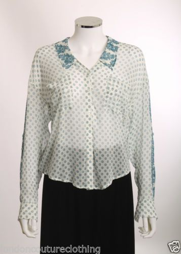 FREE PEOPLE V-NECK BUTTON UP SLEEVE PATCH POCKET WHITE FLORAL BLOUSE SZ XS