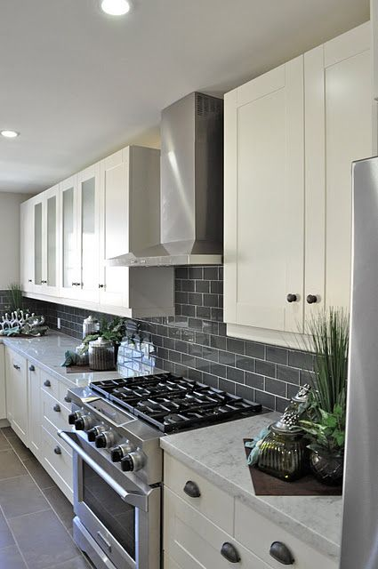 Gray Subway Tile Backsplash For The Kitchen White Cupboards