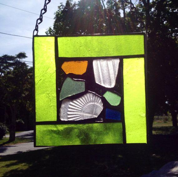 stained glass sea glass sun catcher green  by BeachGirlGlassworks, $40.00