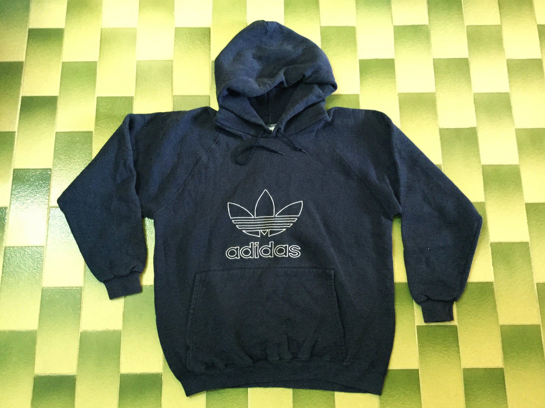 Adidas hoodie pullover sweatshirt Size M Navy blue color
