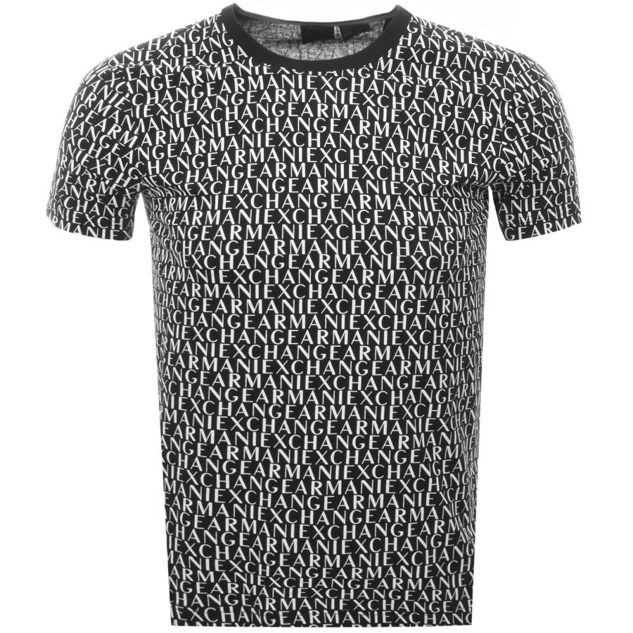Armani Exchange Crew Neck Logo T Shirt In Black, A classic t shirt  featuring an